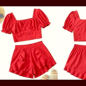 Tow piece red short set